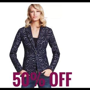 Cabi Jacquard Jacket Style Blazer Navy Blue